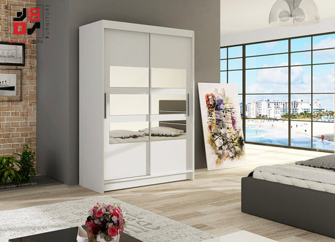 VEGAS V - 2 sliding door wardrobe with mirrors huge capacity >120x200cm<