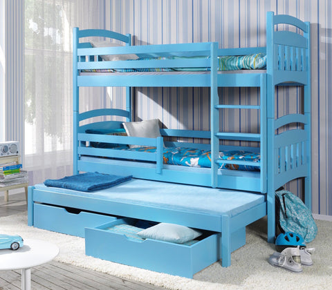 JAC III - Classic wooden triple bunk bed with drawers - Wardrobe-Bunk-Bed-Sofa