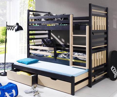 HIPOLIT - great triple bunk bed with 2 drawers, mattresses and great design