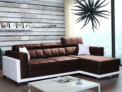 BARI 1 - Modern Corner Sofa with movable headrests. Faux leather >272x172cm< FAST DELIVERY