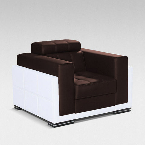 BARI - Modern Armchair for your living room. Brown Plush with White Faux Leather - FAST DELIVERY