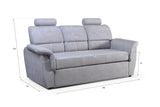 ADRIANNE - Modern Sofa Bed with Headrests, Storage and Pull Out Bed. ARMCHAIR available. Faux Leather. >182x93cm<