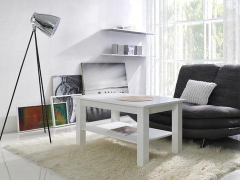 LORA 1B - Modern table with a shelf and simple aesthetics. Designed to suit every interior. White Matt >102x62cm<