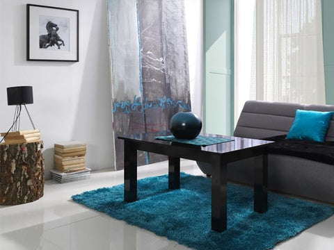 LORA 4A - Modern table with simple aesthetics. Designed to suit every interior. Black High Gloss >102x62cm<