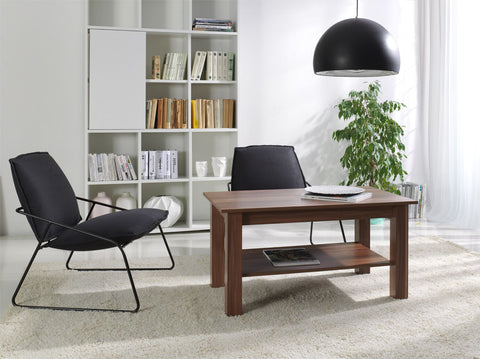 LORA 6B - Modern table with a shelf and simple aesthetics. Designed to suit every interior. Wallis Plum >102x62cm<