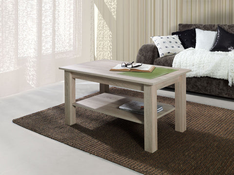 LORA 7B - Modern table with a shelf and simple aesthetics. Designed to suit every interior. Sonoma Oak >102x62cm<
