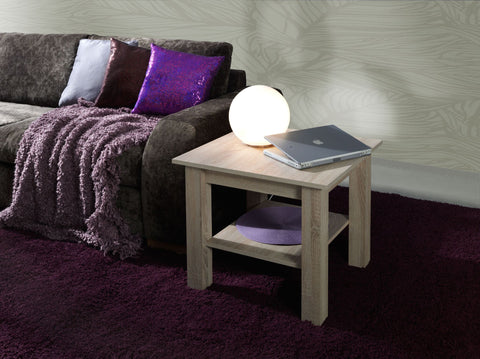 LORA 8B - Modern table with a shelf and simple aesthetics. Designed to suit every interior. Sonoma Oak >62x62cm<