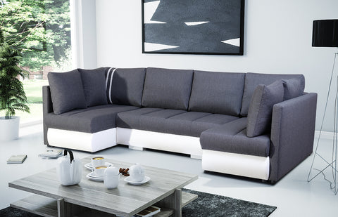 RCITY U - big elegant U-shaped sofa bed with sleeping function and 3 storages >288x144cm<