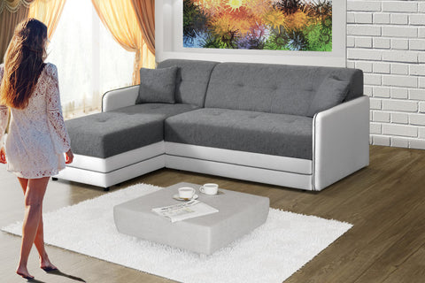 MOENA - Modern Corner Sofa Bed with Storages and Pull Out Bed >200x159cm<