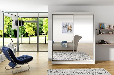 VIVI 6 - 2 sliding door wardrobe with big mirror, rail and shelves >150cm width<