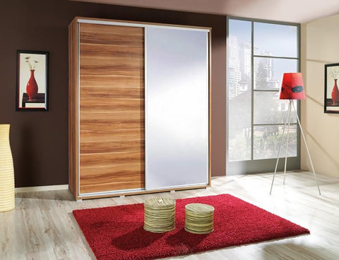 ELLE 1.2 - Modern Wardrobe With Mirror, Sliding Doors, Shelves and Hanging Rail >155cm<