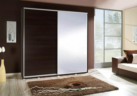 ELLE 2.2 - Modern Wardrobe With Mirror, Sliding Doors, Shelves and Hanging Rail >205cm<