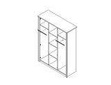 WALTZ 2 - Elegant Wardrobe with Natural Light Wooden Look - 3 doors >150cm<