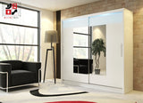 AVA 6.3 - 2 Sliding door wardrobe with LED Lights and the best separator shelf system >180x213cm<