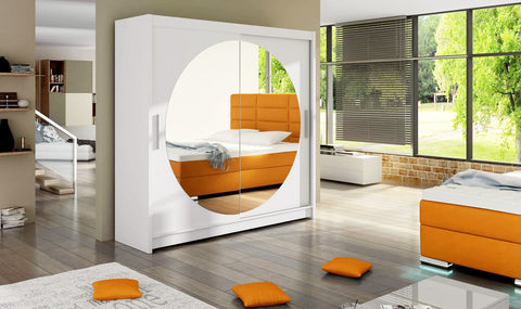 BRAVA Oh! - 2 sliding door wardrobe with round mirror and huge capacity >180cm width<
