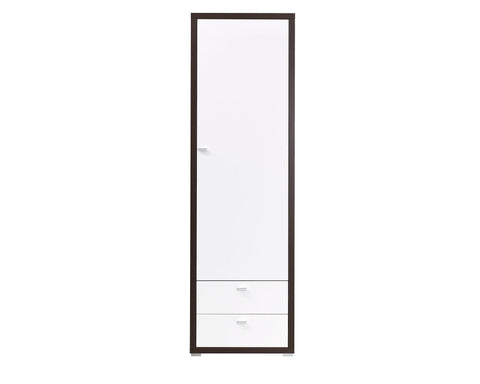 ARYA I - Solid Wardrobe With Drawers, Hanging Rail and a Shelf, High Gloss >64cm<