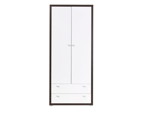 ARYA II - Solid Wardrobe With Drawers, Hanging Rail and a Shelf, High Gloss >90cm<