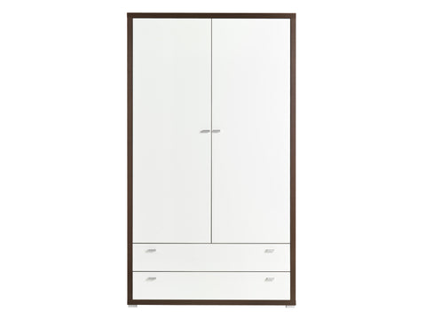 ARYA III - Solid Wardrobe With Drawers, Hanging Rail and a Shelf, High Gloss >120cm<