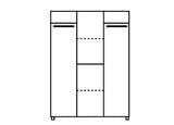 RUSSEL III - Solid Wardrobe with Hanging Rail and Shelves >150 cm<