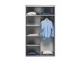 SOPHIA I - Classy Wardrobe With Sliding Doors, Shelves and Hanging Rail, High Gloss >120cm<
