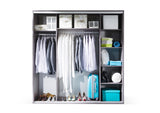 SOPHIA III - Classy Wardrobe With Mirror, Sliding Doors, Shelves and Hanging Rail >206cm<