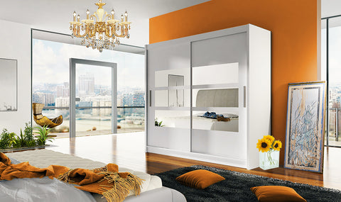 BRAVA III - 2 sliding door WHITE wardrobe with huge capacity >180cm width< FAST DELIVERY
