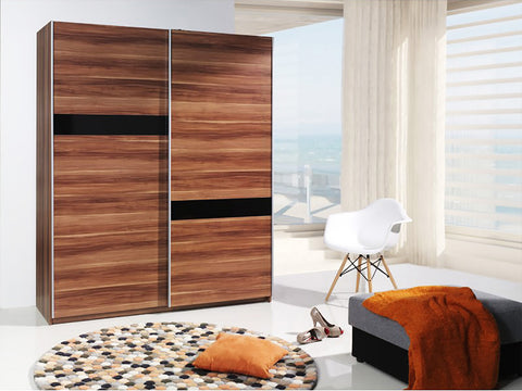 VERONA I - Solid Wardrobe With Sliding Doors, Shelves and Hanging Rail >175cm<