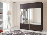 VERONA II - Solid Wardrobe With Mirror, Sliding Doors, Shelves and Hanging Rail >175cm<