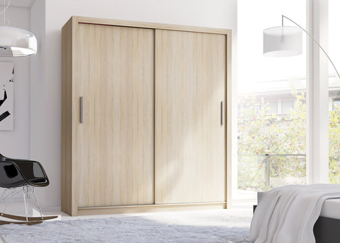 SIROCCO - Classy Wardrobe with Sliding Doors, Shelves and Hanging Rail >181 cm<