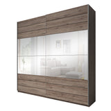 GENUA I - solid wardrobe with mirror, sliding doors, hanging rail, shelves and big capacity >200cm width<