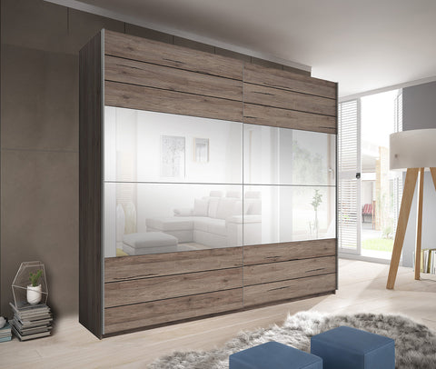 GENUA II - solid big wardrobe with mirror, sliding doors, hanging rail, shelves and big capacity >220cm width<