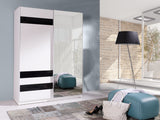 BARBADOS 7 - Wardrobe With Mirror, Sliding Doors, Shelves and Hanging Rail >150cm<