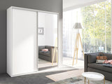 GALA II - Large Wardrobe With Mirror, Sliding Doors, Shelves, Hanging Rail and Awesome Capacity >204cm<