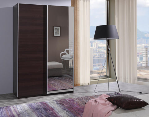 FINISTERRA II - Wardrobe With Mirror, Sliding Doors and 2 Hanging Rails to keep your clothes tidy >135cm<