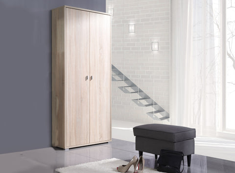 THERON - Solid Wardrobe with Hanging Rail and Shelves will save space in your room >85 cm<