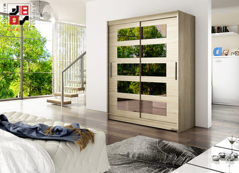 BARBAROSSA V - 2 sliding door wardrobe with mirrors and impressive capacity >150cm width<