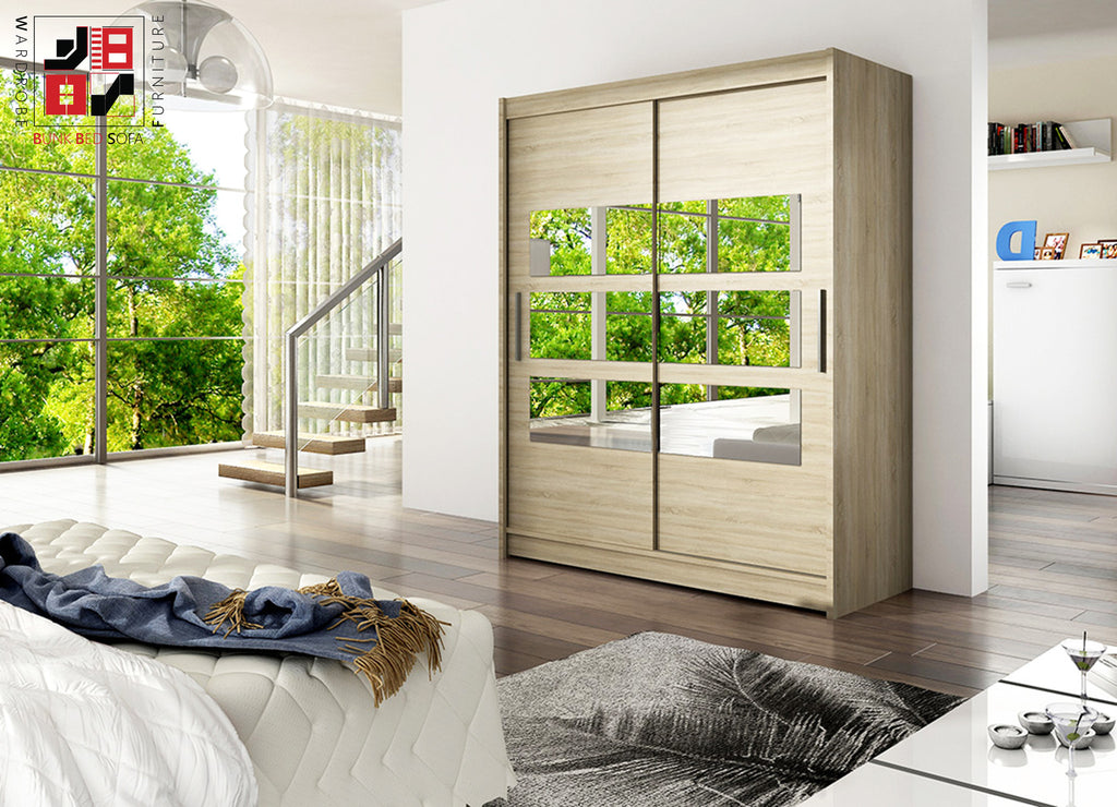 MISESA VII - 2 sliding door wardrobe with mirrors