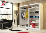 AVA 2.3 - 2 Sliding door wardrobe with LED Lights and the best separator shelf system >180x213cm<