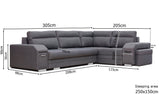 ALEAH - Functional and modern corner sofa bed with FOOTSTOOL, drawer and pull out bed