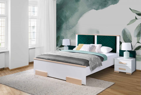 SILLANO Classic Bedroom Bed, White and Beech Wood, Bedside Table option NEW COLLECTION