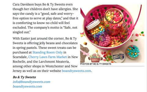 Westchester Magazine article nut-free candy Easter