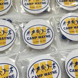 Personalized camp party favor and bunk gift which includes 100% peanut free and nut free chocolate and candy