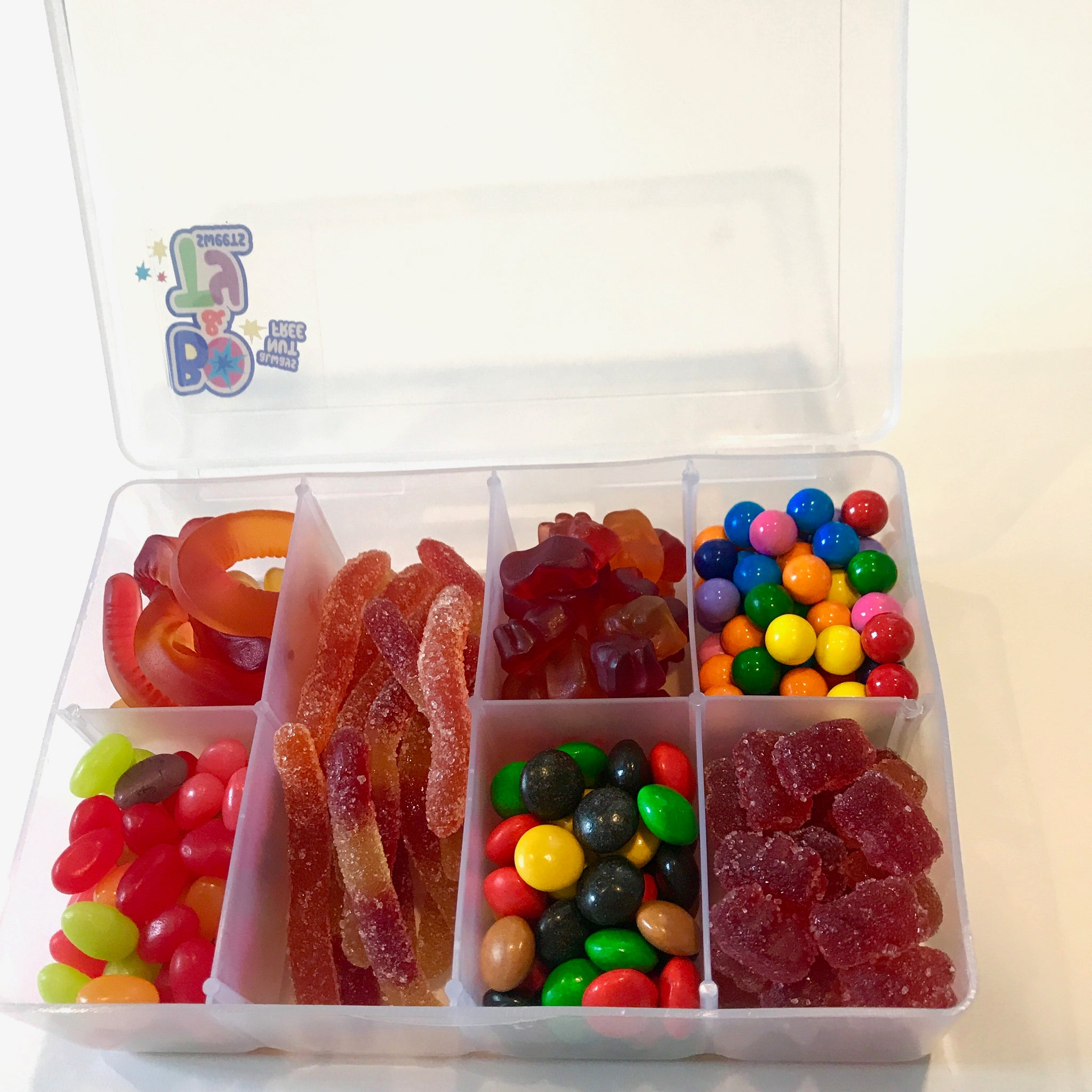 Personalized tackle box for camp bunk gift filled with nut free and peanut free candy and chocolate