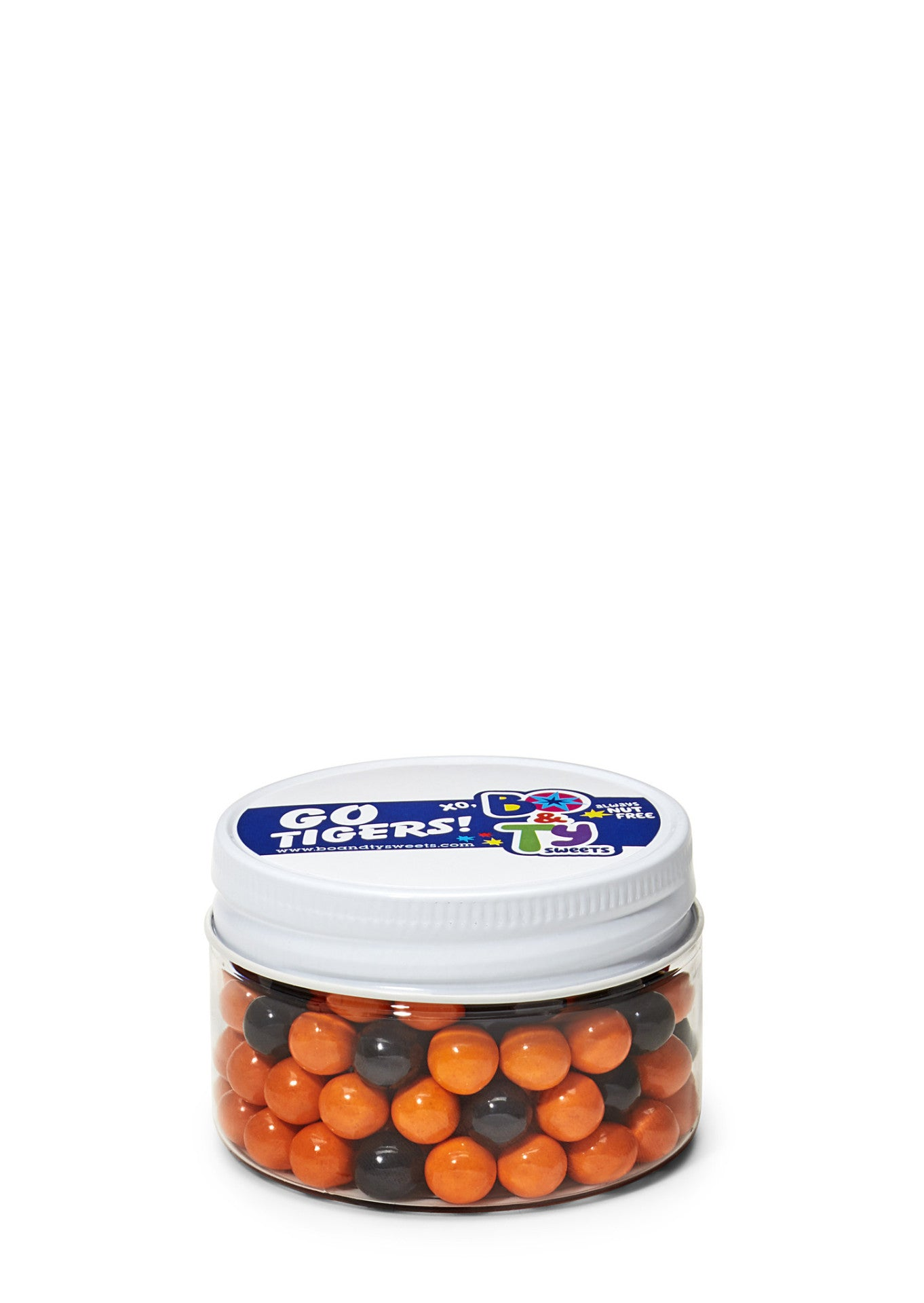Show your school spirit with our allergy friendly jars filled with peanut free, tree nut free and gluten free chocolate candy in your school's team colors!  Go Tigers!