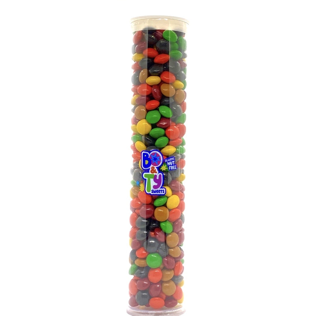 Allergy friendly candy tube filled with peanut free and tree nut free candy