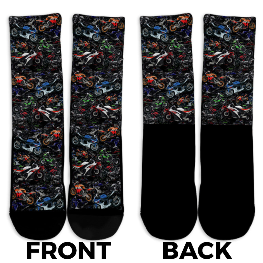 Allover Unisex SportBike Crew Socks