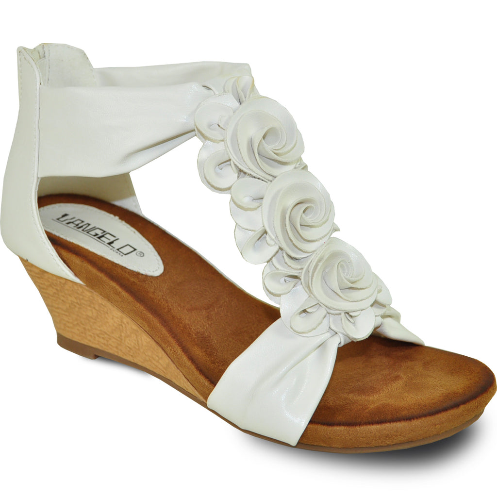 VANGELO Women Sandal AISHA-2 Wedge Sandal White