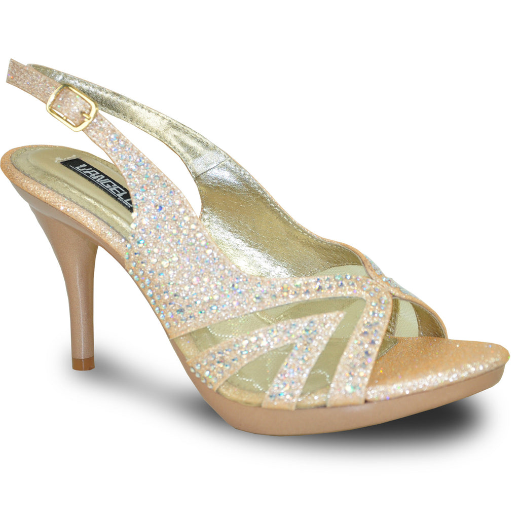 VANGELO Women Sandal BABS-4 Heel Party Prom & Wedding Sandal Champagne