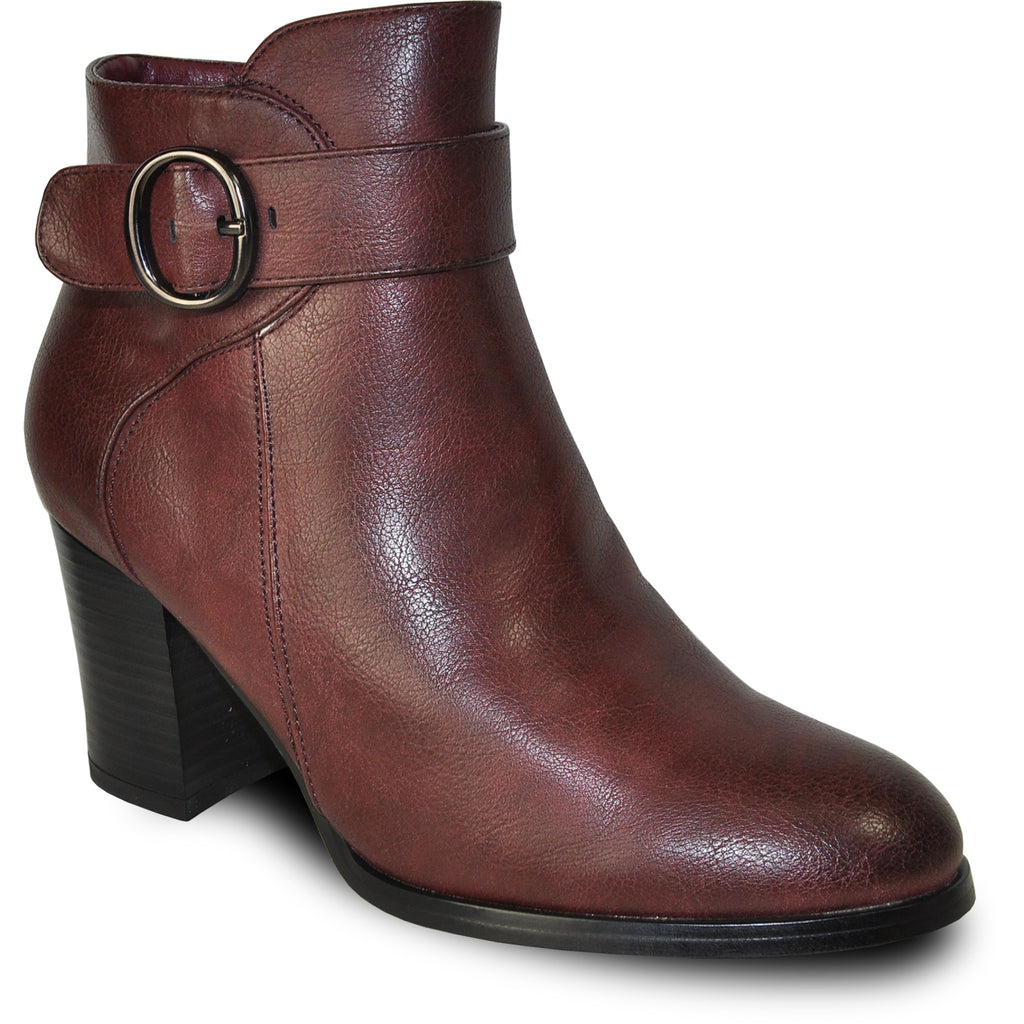 VANGELO Women Boot HF8401 Ankle Dress Boot Bordo Red