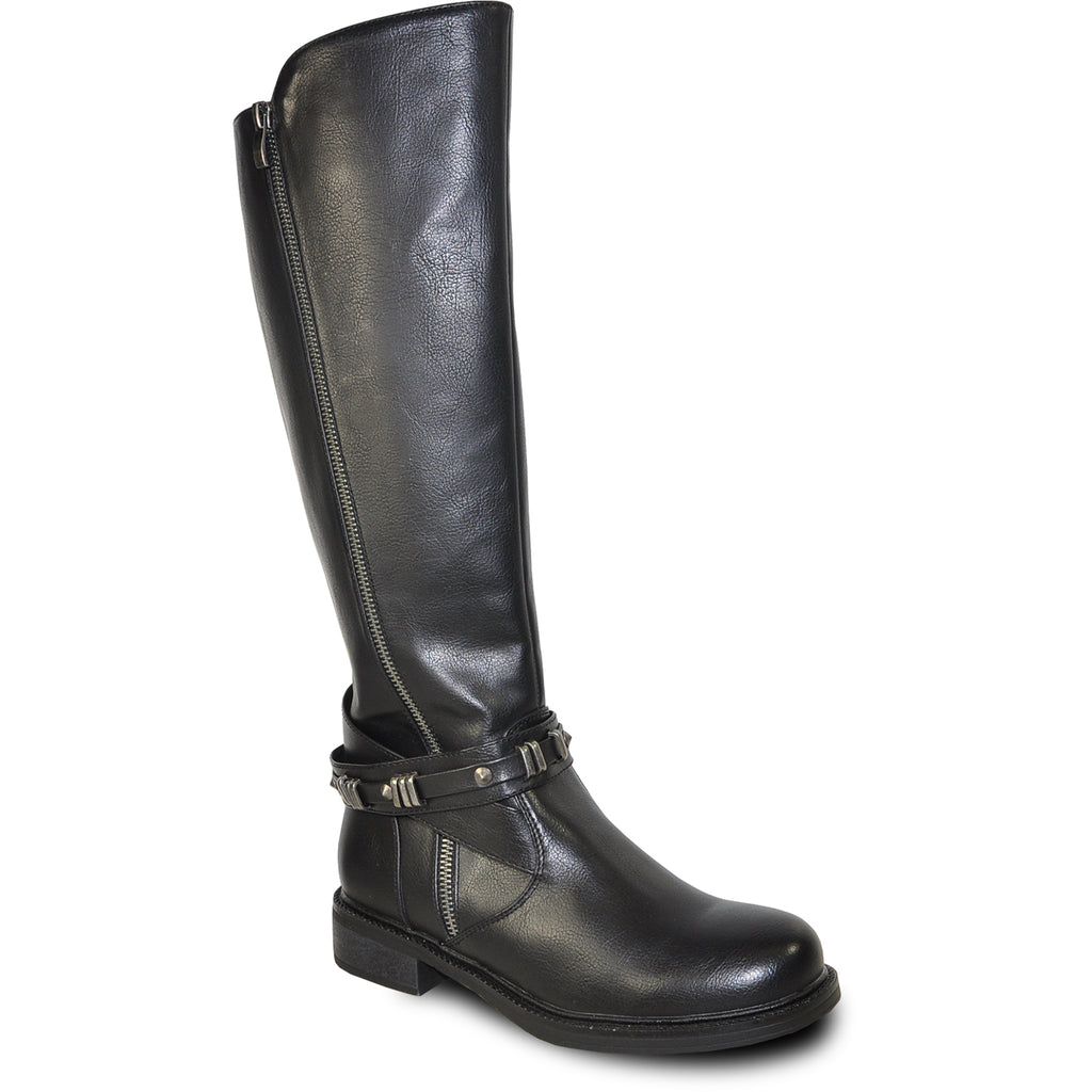 VANGELO Women Boot HF8414 Knee High Casual Boot Black